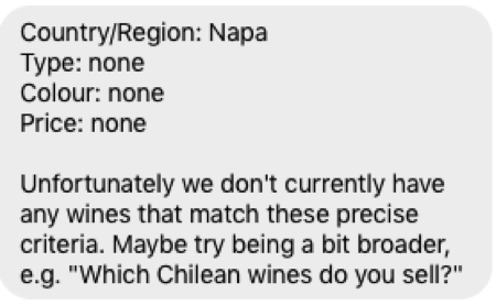Lidl winebot chatbot Margot search no results