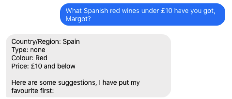 Lidl winebot Margot search results Spanish wines